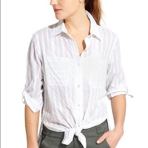 ATHLETA Peninsula White Button Down Shirt